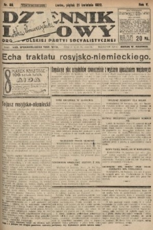 Dziennik Ludowy : organ Polskiej Partyi Socyalistycznej. 1922, nr88