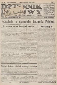 Dziennik Ludowy : organ Polskiej Partyi Socyalistycznej. 1922, nr161