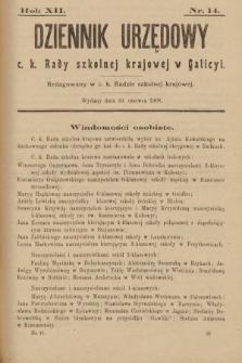 Dziennik Urzędowy c. k. Rady Szkolnej Krajowej w Galicyi. 1908, nr14