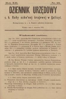 Dziennik Urzędowy c. k. Rady Szkolnej Krajowej w Galicyi. 1908, nr22