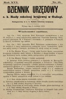 Dziennik Urzędowy c. k. Rady szkolnej krajowej w Galicyi. 1912, nr18