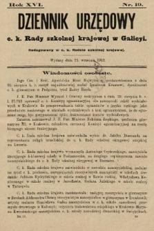 Dziennik Urzędowy c. k. Rady szkolnej krajowej w Galicyi. 1912, nr19