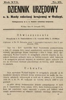 Dziennik Urzędowy c. k. Rady szkolnej krajowej w Galicyi. 1912, nr23