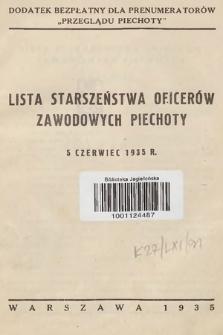 Lista starszeństwa oficerów zawodowych piechoty - 5 czerwiec 1935 r.