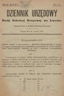 Dziennik Urzędowy Rady Szkolnej Krajowej we Lwowie. 1920, nr1