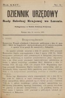 Dziennik Urzędowy Rady Szkolnej Krajowej we Lwowie. 1920, nr9