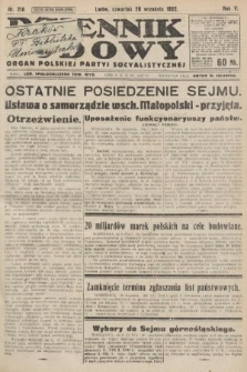 Dziennik Ludowy : organ Polskiej Partyi Socyalistycznej. 1922, nr218