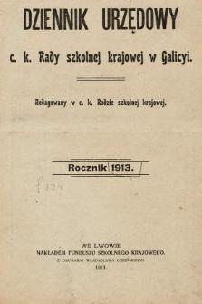 Dziennik Urzędowy c. k. Rady szkolnej krajowej w Galicyi. 1913 [całość]