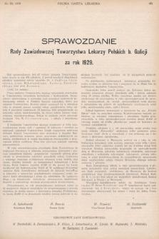 Sprawozdanie Rady Zawiadowczej Towarzystwa Lekarzy Polskich b. Galicji za rok 1929
