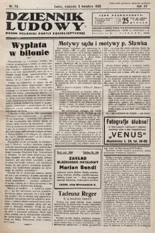 Dziennik Ludowy : organ Polskiej Partij Socjalistycznej. 1932, nr75