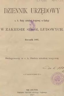 Dziennik Urzędowy C. K. Rady Szkolnej Krajowej w Galicyi w Zakresie Szkół Ludowych. 1897, spis rzeczy