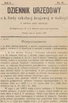 Dziennik Urzędowy C. K. Rady Szkolnej Krajowej w Galicyi w Zakresie Szkół Ludowych. 1897, nr20