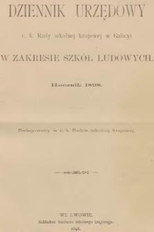 Dziennik Urzędowy C. K. Rady Szkolnej Krajowej w Galicyi w Zakresie Szkół Ludowych. 1898, spis rzeczy