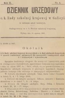 Dziennik Urzędowy C. K. Rady Szkolnej Krajowej w Galicyi w Zakresie Szkół Ludowych. 1898, nr2