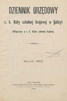 Dziennik Urzędowy C. K. Rady Szkolnej Krajowej w Galicyi. 1903 [całość]