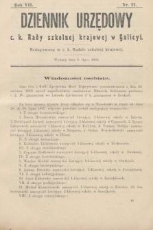 Dziennik Urzędowy c. k. Rady szkolnej krajowej w Galicyi. 1903, nr22