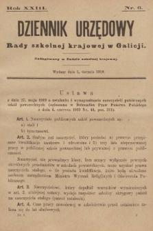 Dziennik Urzędowy Rady Szkolnej Krajowej w Galicji. 1919, nr6