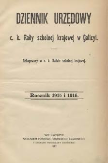 Dziennik Urzędowy C. K. Rady Szkolnej Krajowej w Galicyi. 1916 [całość]