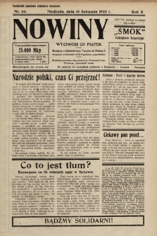 """Nowiny """"Smok"""" : czasopismo bezpartyjne. 1923, nr64"""