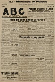 ABC : pismo codzienne : informuje wszystkich o wszystkiem. 1933, nr274