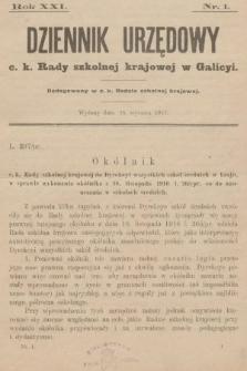 Dziennik Urzędowy c. k. Rady szkolnej krajowej w Galicyi. 1917, nr1