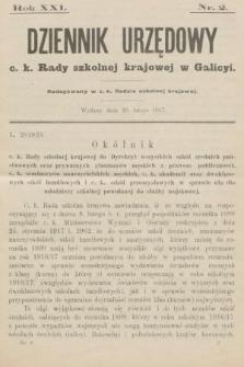 Dziennik Urzędowy c. k. Rady szkolnej krajowej w Galicyi. 1917, nr2