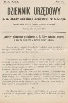 Dziennik Urzędowy c. k. Rady szkolnej krajowej w Galicyi. 1917, nr7