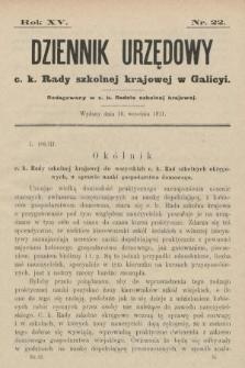 Dziennik Urzędowy c. k. Rady szkolnej krajowej w Galicyi. 1911, nr22