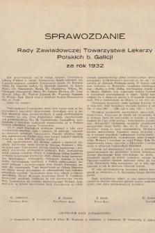 Sprawozdanie Rady Zawiadowczej Towarzystwa Lekarzy Polskich b. Galicji za rok 1932