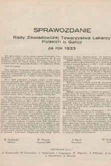 Sprawozdanie Rady Zawiadowczej Towarzystwa Lekarzy Polskich b. Galicji za rok 1933