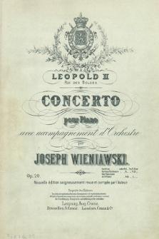 Concerto pour piano avec accompagnement d'orchestre : op. 20