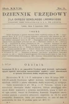 Dziennik Urzędowy dla Okręgu Szkolnego Lwowskiego : wydawany przez Kuratorjum O. S. L. we Lwowie. 1923, nr3