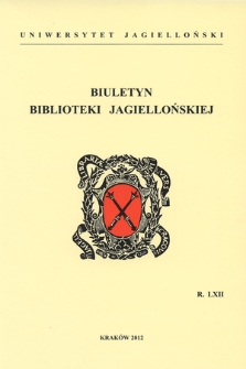 Bulletin of the Jagiellonian Library. Vol. 62, 2012 [entirety]