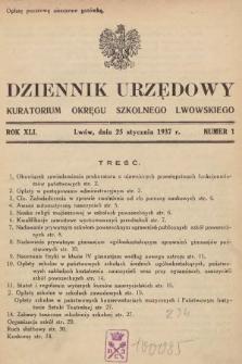 Dziennik Urzędowy Kuratorium Okręgu Szkolnego Lwowskiego. 1937, nr1