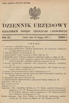 Dziennik Urzędowy Kuratorium Okręgu Szkolnego Lwowskiego. 1937, nr2