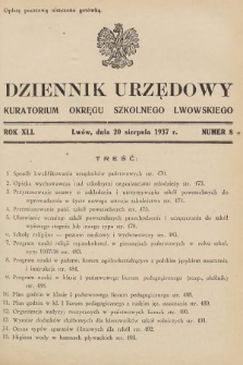 Dziennik Urzędowy Kuratorium Okręgu Szkolnego Lwowskiego. 1937, nr8