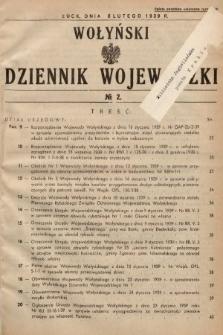 Wołyński Dziennik Wojewódzki. 1939, nr2
