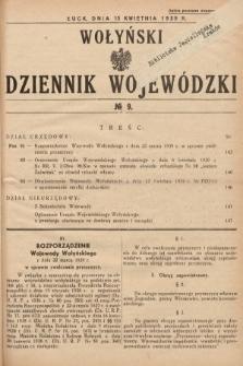 Wołyński Dziennik Wojewódzki. 1939, nr9