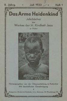 Das Arme Heidenkind : jahrbücher des Werkes der hl. Kindheit-Jesu in Polen. 1933, heft1