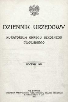 Dziennik Urzędowy Kuratorjum Okręgu Szkolnego Lwowskiego. 1931, indeks