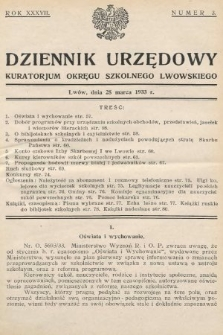 Dziennik Urzędowy Kuratorjum Okręgu Szkolnego Lwowskiego. 1933, nr3