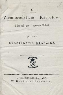 O ziemiorodztwie Karpatów iinnych gór irównin Polski