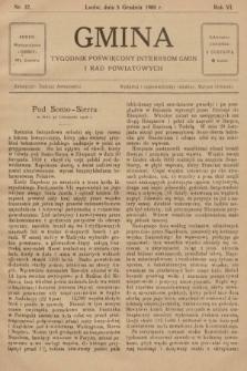 Gmina : tygodnik poświęcony interesom gmin i rad powiatowych. 1908, nr37