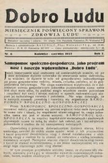 Dobro Ludu : miesięcznik poświęcony sprawom zdrowia ludu. 1932, nr6