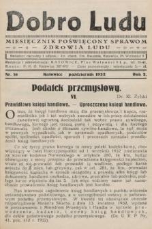 Dobro Ludu : miesięcznik poświęcony sprawom zdrowia ludu. 1932, nr10