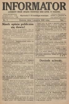 Informator : zawodowy organ Związku Przemysłu Gosp.-Szynk. w Krakowie. 1919, nr7