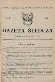 Gazeta Śledcza. 1919, L.1