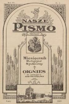 Nasze Pismo : miesięcznik religijno-społeczny. 1927, nr2