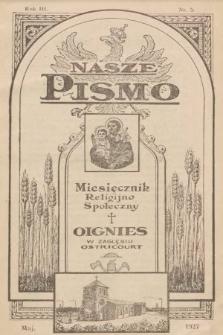 Nasze Pismo : miesięcznik religijno-społeczny. 1927, nr5