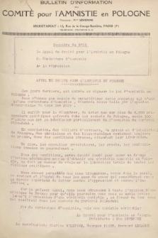 Bulletin d'Information du Comité pour l'Amnistié en Pologne. 1928, nr16